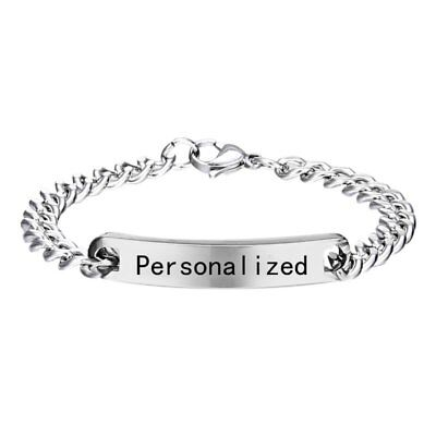 Personalized Engraved Stainless Steel Custom Letter Name Cuff Bracelet Bangle