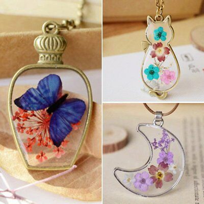 Hot Natural Dried Flower Butterfly Moon Bottle Glass Pendant Necklace Jewellery