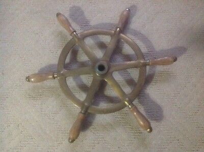 Vintage Perko Ship's Steering Wheel Wooden&Brass~Antique Nautical Maritime Boat