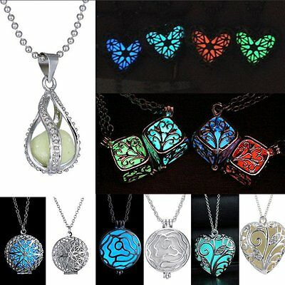 Luminous Steampunk Magic Fairy Locket Glow In The Dark Pendant Prom Necklace Hot