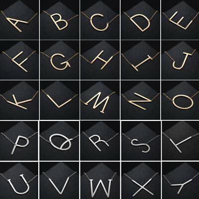 Silver/Gold Stainless Steel Initial 26 Letters Alphabet Pendant Necklace Womens
