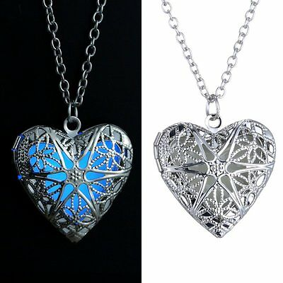 Heart Luminous Glow In The Dark Locket Pendant Glowing Necklace Xmas Jewellery