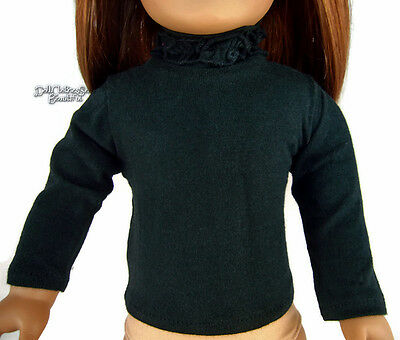 """Black  Long Sleeve T-Shirt Ruffle Neck made for 18"""" American Girl Doll Clothes"""