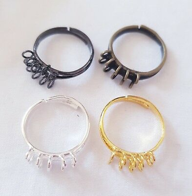 Ring Blanks with 10 loops Pack of 2 Jewellery Making - Choose Colour - FREE POST