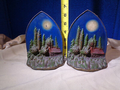 Beautiful Vintage Pair of Paint Decorated Cast Iron Bookends