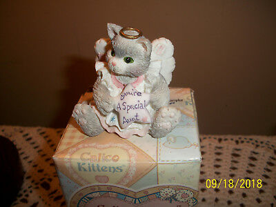 """MIB New Enesco Calico Kittens Figure """"You're a Special Aunt"""""""