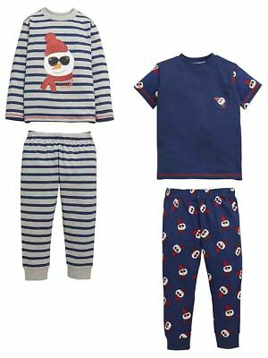 Mini V by Very Toddler Boys Pack of Two Mr Cool Snowman PJ's