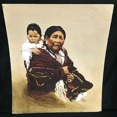 1935 Native American Indian Painting Portrait Squaw Woman Papoose Child Johnson