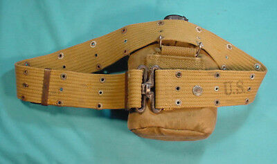 Wwii Us Army Canteen Cover And Web Belt Combat Gear