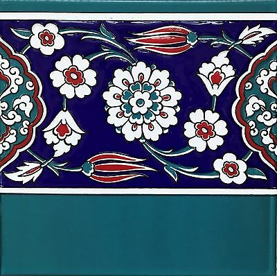 "10 Turkish Turquiose, Red & Blue 8""x8"" Iznik Floral Pattern Ceramic Tile BORDER"