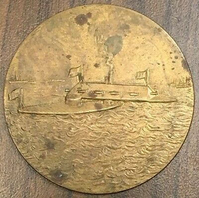 """USS Union Monitor Greenpoint Savings Bank Bronze Medal 2"""" Wide F-152"""