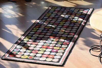 Artists HAND MADE WOOL RUG - CIRCLES - ARTIST UNKNOWN
