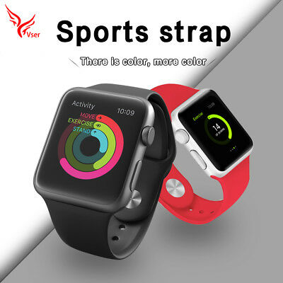 Replacement Soft Sport Silicone Strap Band for Apple Watch 38/42mm Series 3/2/1