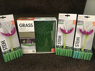 Boon patch grass lawn baby bottle drying rack + 3 stems all new and boxed