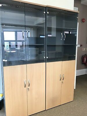 Glass Fronted Unit With Lockable Cupboard