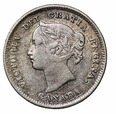 1898 Canada Silver  Five 5 Cents Queen Victoria Canadian British Coin KM#2