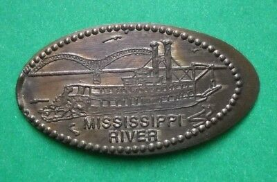 Mississippi River elongated penny USA cent River Boat souvenir coin Bridge