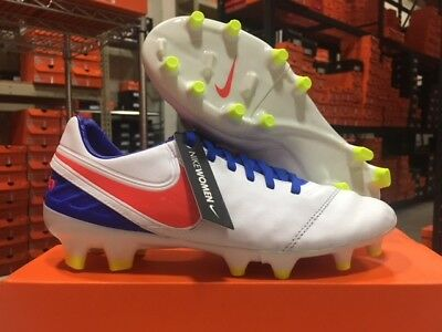 new product 3558f 6f1a9 NIKE WOMEN'S TIEMPO Legacy II FG Cleats (White/Crimson/Blue) Size: 7-11 NEW!