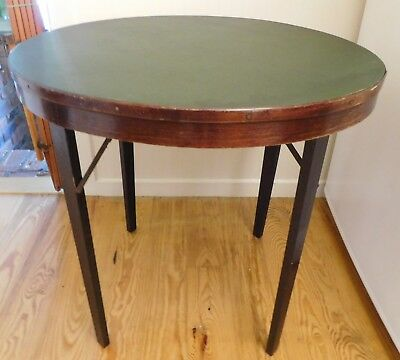 "Vintage Antique Round Wood Folding Table Card Table 30"" Diameter"