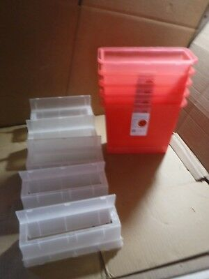 5 New Sharps-A-Gator Sharps Container Tortuous Path 5qt Transparent Red