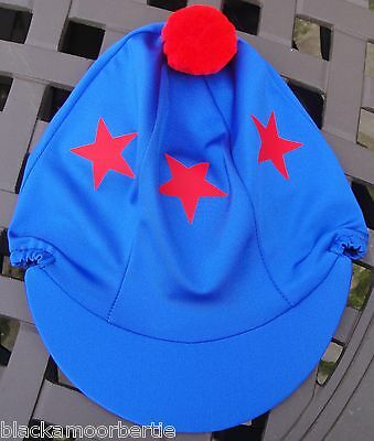 Lycra Riding Hat Silk Skull cap Cover ROYAL BLUE * RED STARS With OR w/o Pompom