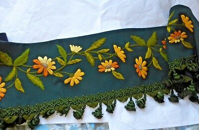 Antique Victorian Floral Embroidered Wool Pelmet with Trim