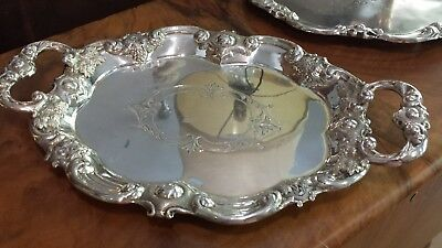 515g STERLING SILVER XIX HANDLE TRAY COLONIAL STYLE: ROVIRA , BARCELONA HM