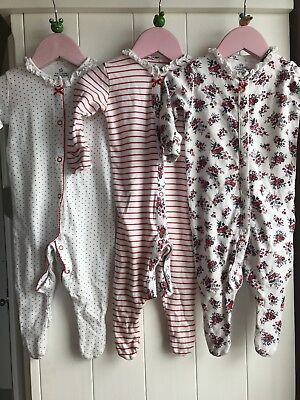 Nexr Red Floral Sleepsuits Babygrows 3-6 Months X3