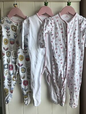 Next Girls Sleepsuits X3 6-9 Months