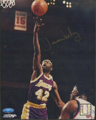 James Worthy Lakers HOF Signed 8x10 Photo Gold Ink AUTO Tristar Sticker Only