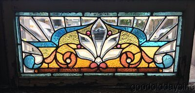 "Antique Victorian Stained Leaded Glass Transom Window 34"" by 16"" Circa 1890"