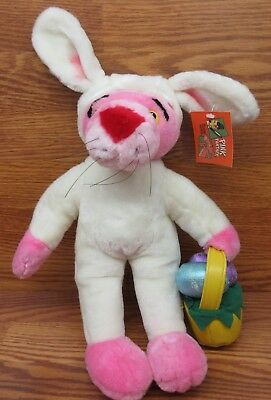 """1998 Pink Panther Easter Bunny with Eggs In Basket Plush 17"""" Tall w/ Hang Tag"""