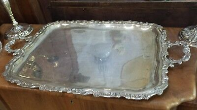 2800g MASTERWORK TRAY CARVING FLOWERS & GRAPES DESIGN STERLING SILVER: WELSCH HM