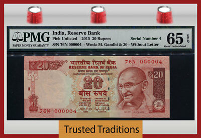 Tt Pk Unl 2015 India 20 Rupees Gandhi Exotic S/n #000004 Pmg 65 Epq Gem 2 Of 8!