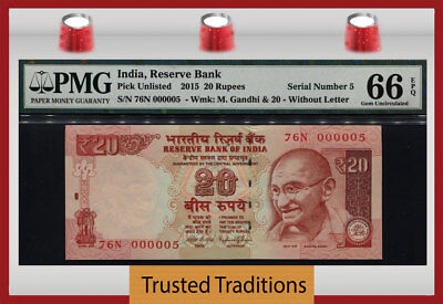 Tt Pk Unl 2015 India 20 Rupees Gandhi Exotic S/n #000005 Pmg 66 Epq Gem 3 Of 8!