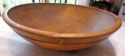 Antique Massive Farm House Carved Wooden Dough Bowl FOlk Art Primitive Patina