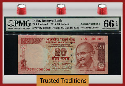 Tt Pk Unl 2015 India 20 Rupees Gandhi Exotic S/n #000009 Pmg 66 Epq Gem 7 Of 8!