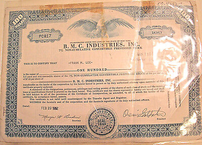 Vintage 1962 B.M.C. Industries 100 Share STOCK CERTIFICATE,Eyeglass Manufacturer