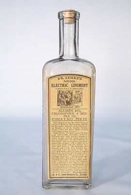 Dr Lemke's Golden Electric Liniment Chicago Labeled Rheumatism Medicine Bottle