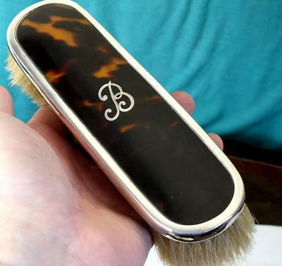 Solid Silver and faux Tortoiseshell Clothes Brush - Levi & Salaman - Bham 1922