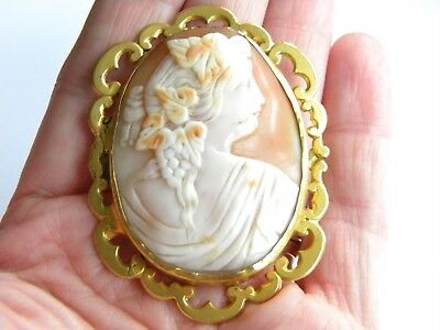 Large Beautiful Victorian carved shell CAMEO brooch ~  antique ~