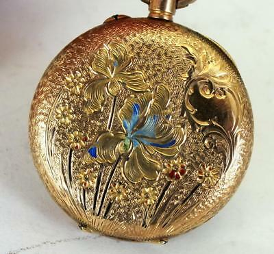 Fine Antique 14ct 14k Solid Gold & Enamelled Pocket / Fob Watch - c.1900