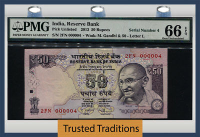 Tt Pk Unl 2013 India 50 Rupees Gandhi Exotic S/n #000004 Pmg 66 Epq Gem 4 Of 10!