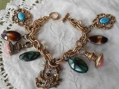 Lovely Decorative Chunky Vintage 1960s CHARM Bracelet