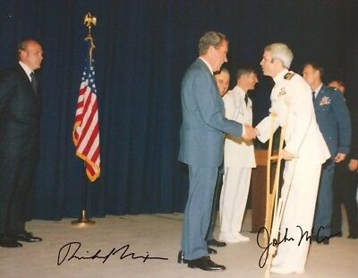 John McCain Richard Nixon DUAL AUTHENTIC HAND SIGNED 8x10 Photo President