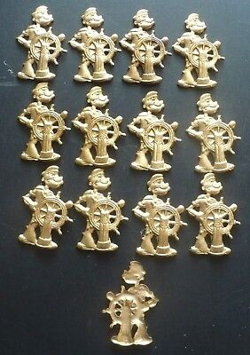 13 Vintage Small Embossed Brass Plate Popeye the Sailor at the Helm