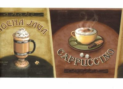 Cafe Mocha Java Latte Cappuccino Coffee Wallpaper Border Kitchen Wall decor