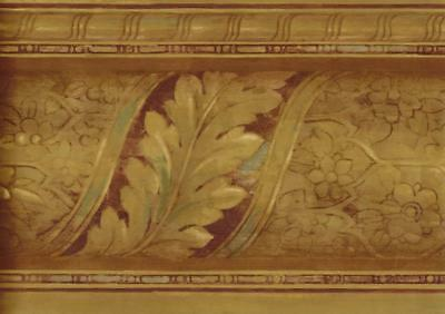 Metallic Gold with Burgandy Rust Blue Accent Faux Wood Molding Wallpaper Border