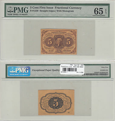 5 Cent 1st Issue Fractional Currency FR-1230 PMG Gem New-65 EPQ