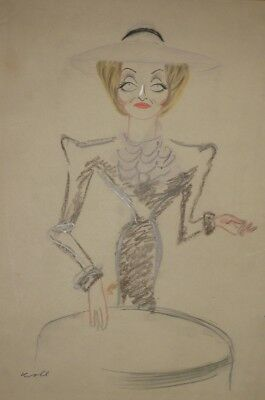 Julius Kroll, famed artist, color caricature signed, Actress Betty Davis